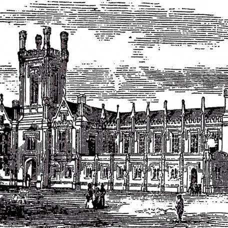 Cheltenham College, in Gloucestershire, England, during the 1890s, vintage engraving. Old engraved illustration of Cheltenham College.